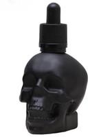 30ml skalle huvud glasflaska klar matt svart frostat 1oz glas droppflaska med svart vit cap e flytande e juice parfymflaska