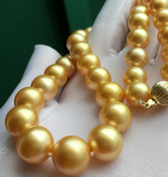Nuova raffinata splendida 12-15mm Real Round Sea South Sea Gold Yellow Pearl Collana 18 pollici 14K