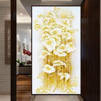 Moda 5D DIY Elmas Boyama Nakış Çiçek Çapraz El Sanatları Dikiş Kiti Duvar Vinil Çıkarılabilir Duvar Sanat Resim Çıkartması