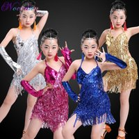 Bühnenkleidung Kinder Professionelle Fransen Ballsaal Latin Tanzkleid Für Mädchen Tanzkleider Rot Kinder Pailletten Quaste