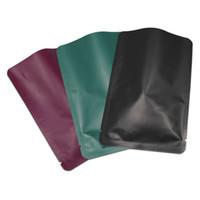 Aluminium détail mat coloré pur Foil Sac paniers Open Top Mylar de stockage Pouches Sealed Heat vide alimentaire Paquet café Sacs 2 tailles