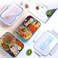 Fork ve Kaşık CCA12167 36pcsN ile Taşınabilir Bento Kutular Öğrenci 3 Izgaralar yemek kutusu Tamamen Mühürlü Gıda 2 Izgaralar yemek kutusu Termal Beslenme Çantaları