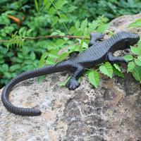 2 parti dell'annata marrone rustico Lizard decorazioni Ghisa Animal Figurine Statua del giardino del Cottage House ornamento antico giardinaggio Retro