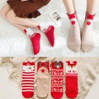 Dibujos animados del calcetín de Navidad Señora del otoño y del invierno del tubo rojos del algodón calcetines de las mujeres Calcetines 3Style XD22140