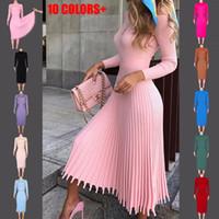 الخريف الشتاء اللباس موضة جديدة للمرأة منتصف طول اللباس البلوز محبوك الصلبة لون اللباس مطوي 10 لون الحجم S-XL