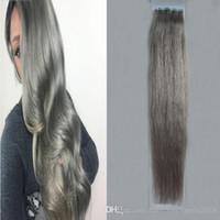 Saç Uzantıları Saç Uzantıları yılında Uzantıları Kül Gri 100g Sorunsuz Cilt Atkı Saçın 40pcs İnsan Remy Teyp Ucuz Satış Teyp