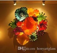 Горячая продажа 100% ручная дутого стекла Современные муранского стекла Art Hand Сгорел Настенный декор цветок Стеклянные пластины
