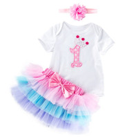 Babies 6 layers mesh tutus skirts with rompers headband clot...