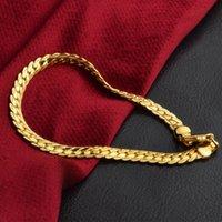 Hip Hop Kette Armband Mode Silber Gold Farbe Link Armreif Schmuck 5mm 20 cm Schlange Flache Kette Armbänder für Männer Frauen 925 18k Stempel
