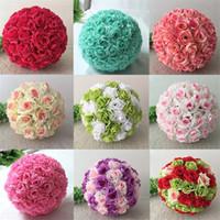 Gül Topları 15-80 cm Düğün Ipek Pomander Öpüşme Topu Süslemeleri Çiçek Yapay Çiçek Düğün Bahçe Pazarı Dekorasyon Için
