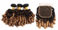 저렴한 1B / 30 또는 1B / 27 옹 브르 브라질 탄력있는 곱슬 머리 인간의 머리카락 3 묶음 레이스 클로저 4x4 무료 부품 레미 Aunty Funmi 헤어 클로저