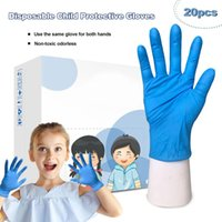 20pcs box Unisex Child Blue Disposable Gloves Latex Universa...