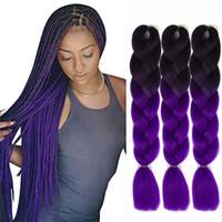 Оптовая цена Ombre Два цвета Kanekalon плетение волос Синтетические Jumbo плетение косичек Наращивание волос 24inch Bulk вязания плетенки волос