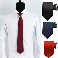 Simple Burgundy Navy Blue Black stretch satin Groom Ties Pla...