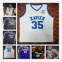 Xavier Musketeers 흰색 회색 블루 블랙 맞춤형 NCAA 농구 13 Naji Marshall 0 Tyrique Jones 55 JP Macura 5 Trevon Bluiett Hankins Jersey