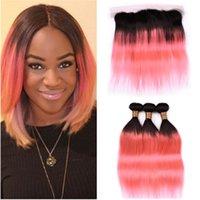 # 1b / розовый ombre прямые перуанские человеческие волосы 3 перуанские и фронтальные 4 шт. Лот ombre розовое золото полное кружевное лобное закрытие 13x4 с ткачами