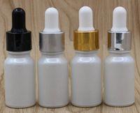 Frasco de conta-gotas de vidro branco 10ml com ouro prata preto branco cap vape e líquido ejuice cosmético perfume frasco de pipeta de vidro