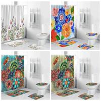 Wasserdichte Duschvorhang 3D-Drucken-Blumen-Badezimmer Sets Duschvorhang Set Duschvorhang WC-Matte Zubehör 4pcs 50zh H1