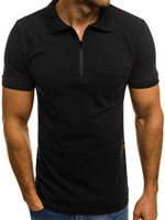 Fashion Designer Mens Polo decorazione della chiusura lampo del Mens di lusso Estate Tops business casual manica corta vestiti solidi
