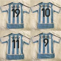 أعلى 2006 الأرجنتين ريترو لكرة القدم الفانيلة نجمة ميسي 19 ريكيلمي 10 Crespo 9 Tevez 11 ميليو 15 موحدة دي أطقم فوبرول قميص تايلاند جودة كرة القدم قمصان مارادونا