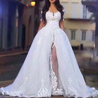 2020 Arapça Beyaz Zarif Kapalı Omuz Gelinlik Ostarskirt Uzun Kollu Dantel Gelin Düğün Elbise ile Ayrılabilir Tren