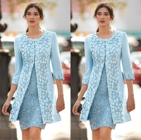 Chic Light Blue Mother Of Bride Dresses With Jacket 3D Appli...