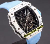 Top Versão New Tpt Branco Fibra de Carbono Case RM12-01 Black Skeleton Dial Miyota Automatic Mens Assista Dois Tom Blue Nylon Sport Watches 43mm