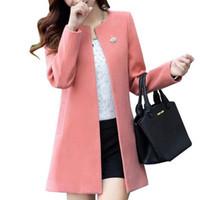 Round Fashion manches longues femmes Manteaux couleur solide en vrac Cardigan Automne Slim mince vêtement