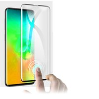 دعم بصمات الأصابع فتح غطاء كامل حالة ودية 3d منحني الزجاج المقسى حامي الشاشة لسامسونج غالاكسي S10 S10 زائد 100pcs / lot