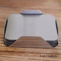 6'da 1 Paslanmaz Çelik Coaster Kare Isıya Dayanıklı Masa Mat Kaymaz Çay Kahve Kupası Tutucu Yastık Placemat bulaşığı Pad DBC DH1125