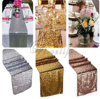 30x180cm 30x275cm Sparkly Rose Gold Sequin Table Runner for Wedding Party Christmas