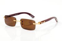 Frankreich Klassische Büffelhorn Holz ebene Spiegelgläser Mode randlos Rechteck Männer Sonnenbrille lunettes de soleil mit ursprünglichem Kasten