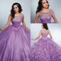 New Lilac Purple Quinceanera Dresses Jewel Neck Cap Sleeves ...
