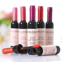 6 قطعة / الوحدة النبيذ الاحمر زجاجة ملون ماتي لمعان الشفاه تينت ماء ملمع الشفاه السائل سهلة لارتداء غير عصا الشفاه