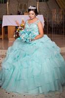 Роскошные крупные бусины Brilliant Ball-платье-платья Quinceanera платья Scoop шеи сладкие 15 платьев плюс размер выпускных вечеринок для девочек