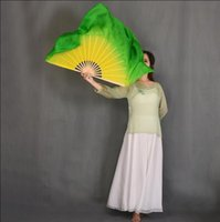Stage Wear Yellow Green Silk Veil Handmade Belly Dance Fan Pair(1L+1R) 20 Inches Half Circle Real Props Adults On Sale