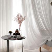 Branca Tule Cortinas para Sala Decoração moderna Chiffon Sólidos Sheer Decoração casa Voile Kitchen Curtain