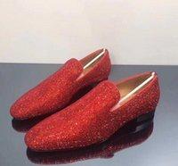 Lujosa boda del diseñador del vestido de partido de los holgazanes de los puntos rojos de fondo Zapatos brillante Mocassin negocios ocasional que recorre Zapatos Oxford de los hombres de