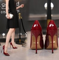 Mode Luxus-Designer-Frauen pumpt hohe Absätze 12cm 10cm 8cm Champagne Leder Loafers spitzen Zehen Pumpen Böden Kleid Schuhe mit Box