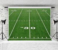 Rêve 7x5ft Terrain de Football Américain Photographie Toile de Fond Toile de Fond Trente Chantiers Numéro et Ligne Vert pour Thème Décor de Partie