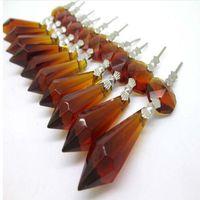 20 Drak коричневое стекло кристаллы для хрустальная люстра сосулька призмы 38 мм с одним бисером Кристалл ремесла для свадебные украшения