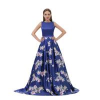 2019 Imágenes reales Una línea Vestido largo de fiesta Vestido largo formal Impreso flor Vestidos de baile Vestidos de noche Cuello alto sin espalda B007