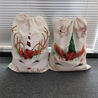 Christmas Large Canvas Candy Gift Bag For kids Sacks Santa Claus Unicorn Red Green Color Drawstring Bags 08