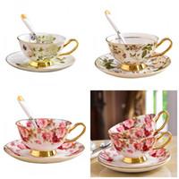 Ceramica Fiore Stampa Tazza Piatto Suit Tè pomeridiano Bicchiere da caffè con piatto d'oro piatto colorato Moda 26yd C1