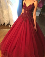 Dark Red Quinceanera Dress Ball Gown Spaghetti Straps Lace A...