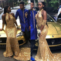 Африканских Sexy Gold Sequined Дешевые платья выпускного вечера 2020 Кихол шеи Mermaid Long Открыть Назад Вечерние платья BC3515