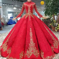 Ball Gown Red Women Evening Party Dresses Floor Length High ...