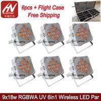 6pcs Power Power Par Light 9x18W 6in1 RGBAW + UV LED Freedom Freedom Par50 Up Lights Boda DJS Industración con una caja de carga