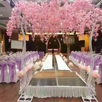 Fiore della ciliegia della simulazione del cavo della strada del fiore della ciliegia artificiale bianco con la cornice dell arco del ferro per i puntelli del partito di nozze
