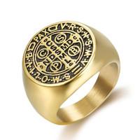 Готический мужской крест-кольцо Christian Isus Tombstone религиозные мужчины Панк пальцев кольца золота / серебряные цветные библейские ювелирные изделия